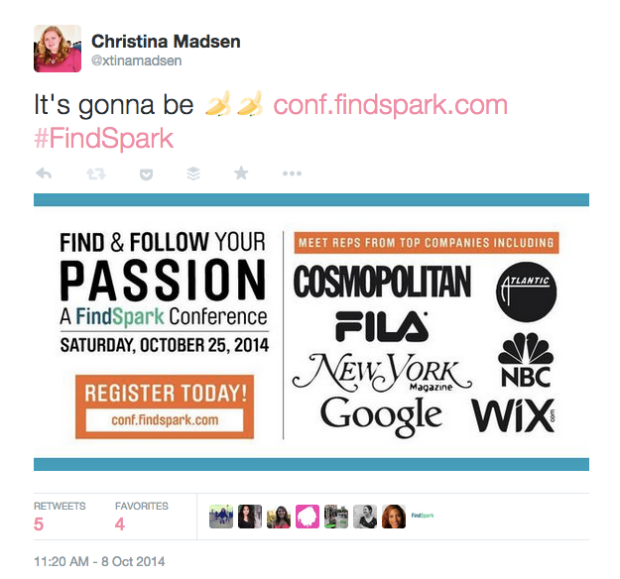 Christina Madsen FindSpark Tweet